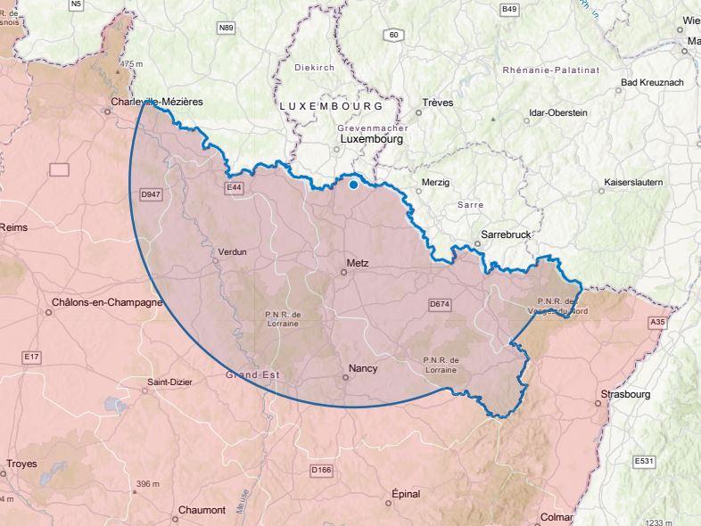 Distance 100kms autour de Rodemack